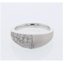 Pave-set Diamond Band w/ Brushed Finish in 18K White Gold - REF-92N2A