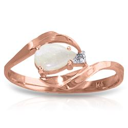 Genuine 0.26 ctw Opal & Diamond Ring Jewelry 14KT Rose Gold - REF-26K9V