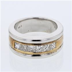 Gents Princess-cut Channel-set Diamond Ring in 14K Two-tone Gold - REF-253A8N