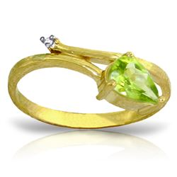 Genuine 0.83 ctw Peridot & Diamond Ring Jewelry 14KT Yellow Gold - REF-40A5K