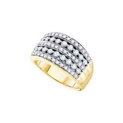 1 CTW Natural Diamond Striped Pave Cocktail Band 14K Yellow Gold