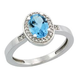 Natural 1.08 ctw Swiss-blue-topaz & Diamond Engagement Ring 10K White Gold - REF-25F5N