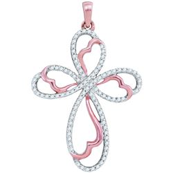 0.25 CTW Natural Diamond Cross Faith Pendant 10K Rose Gold