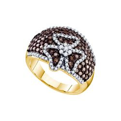 1.55 CTW Cognac-brown Colored Diamond Cocktail Ribbon Bow Ring 10K Yellow Gold