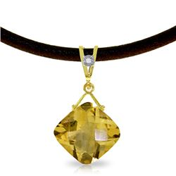 Genuine 8.76 ctw Citrine & Diamond Necklace Jewelry 14KT Yellow Gold - REF-30T6A