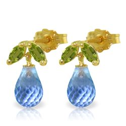 Genuine 3.4 ctw Blue Topaz & Peridot Earrings Jewelry 14KT Yellow Gold - REF-19M3T