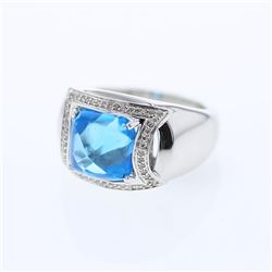 Cushion Blue Topaz Ring w/ Diamonds in 14K White Gold - REF-87M9F