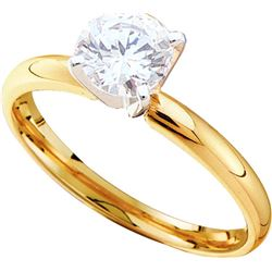0.4 CTW Natural Diamond Solitaire Bridal Engagement Ring 14K Yellow Gold