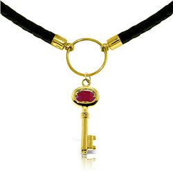 Genuine 0.50 ctw Ruby Necklace Jewelry 14KT Yellow Gold - REF-68V4W