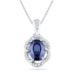 1.73 CTW Oval Lab-Created Blue Sapphire Solitaire Diamond Pendant 10K White Gold