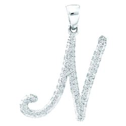 0.18 CTW Natural Diamond Letter N Initial Pendant 10K White Gold