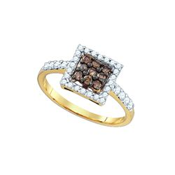 0.5 CTW Cognac-brown Colored Diamond Cluster Ring 10K Yellow Gold