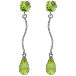 Genuine 4.3 ctw Peridot Earrings Jewelry 14KT White Gold - REF-23Y5F