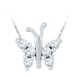 0.2 CTW Natural Diamond Small Butterfly Bug Insect Unique Pendant 10K White Gold