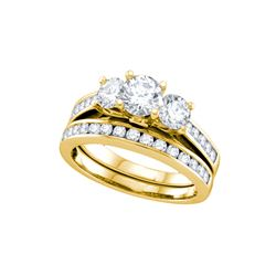 2 CTW 3-Stone Natural Diamond Bridal Engagement Ring 14K Yellow Gold