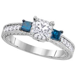 1 CTW 3-stone Blue Colored Diamond Bridal Engagement Ring 14K White Gold
