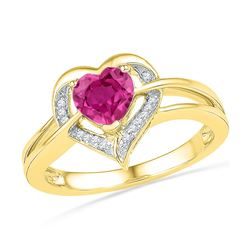 1.04 CTW Lab-Created Ruby Heart Love Ring 10K Yellow Gold