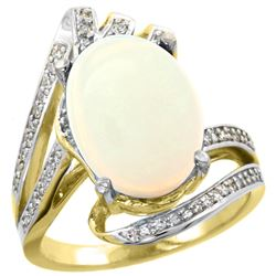 Natural 5.76 ctw opal & Diamond Engagement Ring 14K Yellow Gold - REF-94X6A