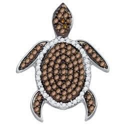 0.35 CTW Cognac-brown Colored Diamond Sea Turtle Tortoise Pendant 10K Yellow Gold