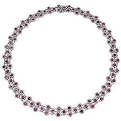 14KWhiteGold 24.92CTW Ruby & Diamond Necklace - REF-1175K8R