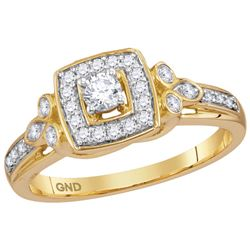 0.33 CTW Natural Diamond Halo Bridal Engagement Ring 10K Yellow Gold