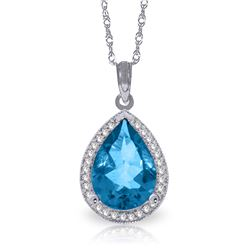 Genuine 4.66 ctw Blue Topaz & Diamond Necklace Jewelry 14KT White Gold - REF-70A6K