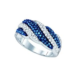0.85 CTW Blue Colored Diamond Striped Band 10K White Gold