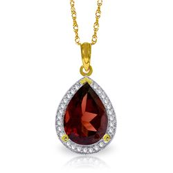 Genuine 4.06 ctw Garnet & Diamond Necklace Jewelry 14KT Yellow Gold - REF-70R2P