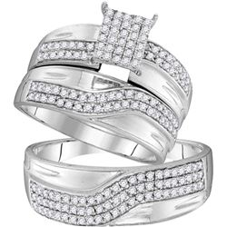 0.75 CTW His & Hers Natural Diamond Cluster Matching Bridal Ring 10K White Gold