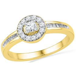 0.33 CTW Natural Diamond Solitaire Bridal Engagement Ring 10K Yellow Gold