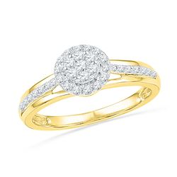 0.33 CTW Natural Diamond Flower Cluster Ring 10K Yellow Gold