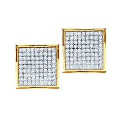0.23 CTW Natural Diamond Square Cluster Earrings 10K Yellow Gold