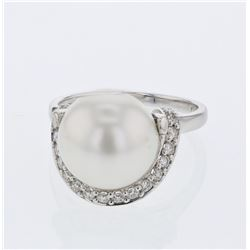 South Sea Pearl w/ Prong-set  Diamond Ring in 18K White Gold - REF-87X5Y