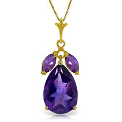 Genuine 6.5 ctw Amethyst Necklace Jewelry 14KT Yellow Gold - REF-38T2A