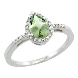 Natural 1.53 ctw green-amethyst & Diamond Engagement Ring 10K White Gold - REF-18F9N
