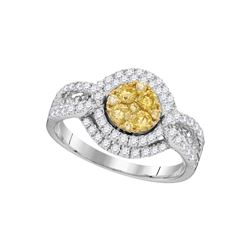 1.10 CTW Yellow Natural Diamond Cluster Bridal Engagement Ring 14K White Gold