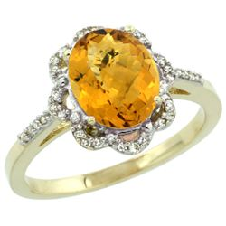 Natural 1.85 ctw Whisky-quartz & Diamond Engagement Ring 10K Yellow Gold - REF-28M4H