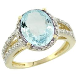 Natural 3.09 ctw Aquamarine & Diamond Engagement Ring 14K Yellow Gold - REF-60R5Z