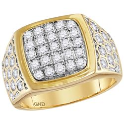 1.75 CTW Mens Natural Diamond Square Cluster Ring 14K Yellow Gold