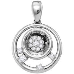 0.13 CTW Natural Diamond Circle Cluster Pendant 10K White Gold