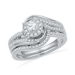 0.49 CTW Natural Diamond Halo Bridal Engagement Ring 10K White Gold