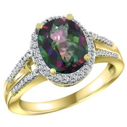 Natural 2.72 ctw mystic-topaz & Diamond Engagement Ring 14K Yellow Gold - REF-54N4G