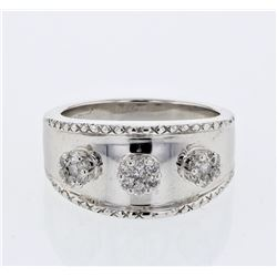 3 Flower Diamond Ring w/ Engraving in 14K White Gold - REF-60Y2X
