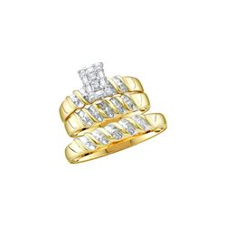 0.1 CTW His & Hers Natural Diamond Cluster Matching Bridal Ring 14K Yellow Gold