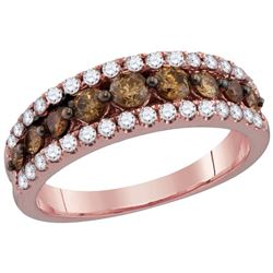 1 CTW Cognac-brown Colored Diamond Band 14K Rose Gold