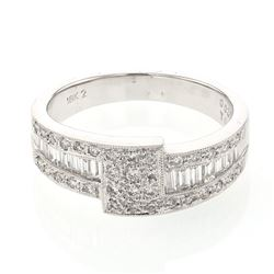 Baguette & Round Diamond Band w/ Channel & Prong-set in 18K White Gold - REF-113F7M