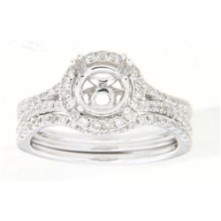 14K White Gold 0.68CTW Diamond Wedding Ring Set - REF-90W5H