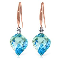 Genuine 27.9 ctw Blue Topaz & Diamond Earrings Jewelry 14KT Rose Gold - REF-81H5X