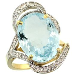 Natural 11.23 ctw aquamarine & Diamond Engagement Ring 14K Yellow Gold - REF-191H2W