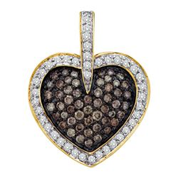 1 CTW Cognac-brown Colored Diamond Heart Cluster Valentines Pendant 14K Yellow Gold